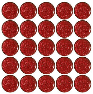 25x Red Sparkle Gel Domed Stickers 25mm 1 Inch Self Adhesive Bottle Caps