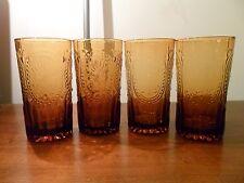 4 Vintage Amber FLEUR DE LIS Embossed Tall Ice Tea Glass Tumblers Glasses 18 oz!