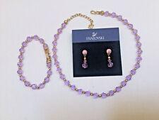 Swarovski Pink Crystal 3 Piece Set Necklace Bracelet Dangling Stud Earrings