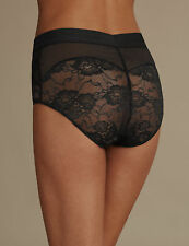 SLIP CONTENITIVO VITA ALTA PIZZO ROSSO L - RED BRIEF LACE HIGH WAISTED UK 12/14