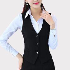 Women Business Work Suit Vest Sleeveless Slim Fitted Waistcoat Gilet Tuxedo Coat