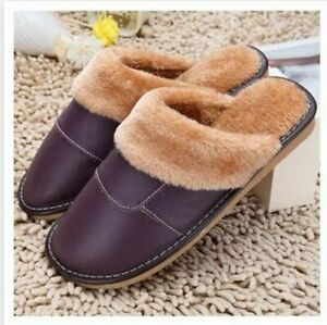 Unisex Genuine Leather Slippers House Soften Plush Winter Warmer Indoor Shoes