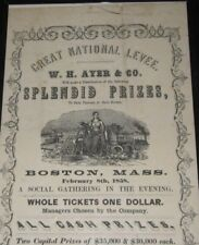 VINTAGE BROADSIDE - GREAT NATIONAL LEVEE - W.H. AYER & CO. BOSTON - FEB 8 1858