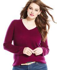 $139 Charter Club Women's/Juniors Magenta V-Neck 100% Cashmere Sweater Size PP