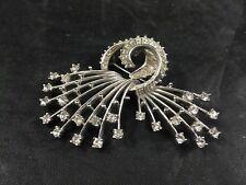 Vintage Pennino Signed Brooch Pin  Art Deco Spiral Form Rhinestone Agate