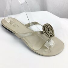 Women's Sandals Flip Flops Talbots Nude Beige Patent Leather Flower Accent Sz 6
