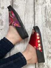 Red Satin Sliders Size 6 Brocade Pearl Oriental Floral Footbed Flip flops