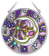 "AMIA STAINED GLASS SUNCATCHER 4.5"" ROUND MOON #5473"