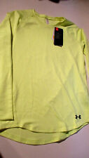 NWT $40 UNDER ARMOUR COLD GEAR L/S GIRLS YOUTH CREW NECK SHIRT YELLOW XL