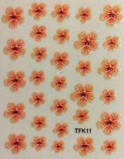 Nail Art 3D Decal Stickers Glittery Coral Colored Flowers TFK11