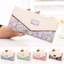 Women Flower Envelope Leather Wallet Card Button Clutch Purses Long Handbag Bags