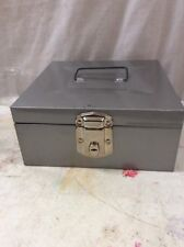 Mid Century metal storage file box vintage Grey Porta File Hamilton 9x9x4.5