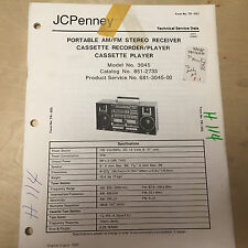 JCPenney Service Manual for the 681 3045 Boombox Radio Cassette Player 851-2733