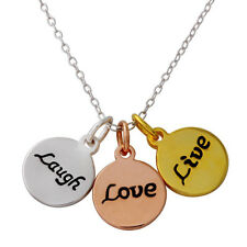 sterling silver 925 circle Live Laugh Love shapeTriple Color Plated Necklace N33