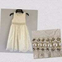 Girls Dress Age 7 Cinderella Lace Pearl  Bridesmaid Wedding  Party Cream Ivory