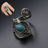 Native American Indian Jewelry Silver Turquoise Open Ring Flower Pattern Ring