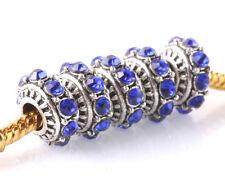 5pcs Tibetan silver CZ big hole spacer beads fit Charm European Bracelet #B502