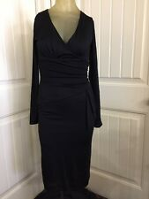 Andy The Anh Womens Black Dress Sz 2 Fully Lined Ruched Empire Waist V-neck
