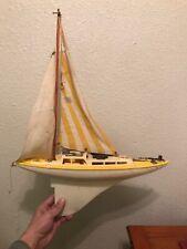 Vintage Toy Sailboat Pond Boat Sailing Yatch Yellow White