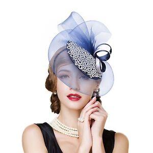 Womens Sinamay Fascinator Cocktail Hat Wedding Kentucky Derby headband T244