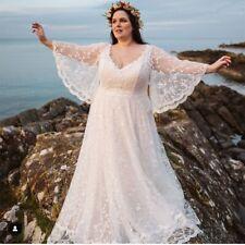 Plus Size Lace Wedding Dress Batwing Sleeve Bridal Gowns V-Neck Bride Dresses