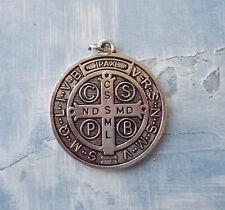 36ca70d6ce2 Large Medalla De San Benito~St Benedict~Round Silver tone OX Jubilee 1.5