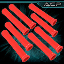 "Universal 8 Piece 7"" Spark Plug Wire Shield Sleeve Insulation Cover Kit Red"