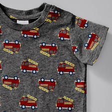 Red Fire Truck Grey Soft Cotton Short Sleeve Tee T shirt Target Baby 0 - 3 M