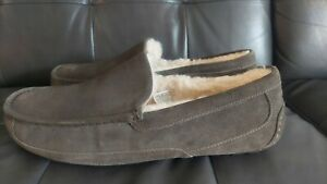 New UGG ASCOT #1101110 CHARCOAL Sheepskin Lined Moccasin Slippers Men's SIZE 16