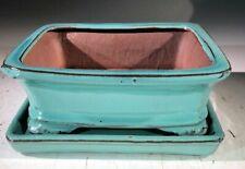 "Light Blue Ceramic Bonsai Pot Rectangle+Detachable Tray 7"" x 5.5"" x 3"" for Plant"