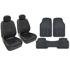 BDK Buckets & Mats Black PU Leather Bucket Seat Covers & Black 3 Piece PVC Mats