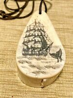 Vintage Hand Carved Loop Necklace With Compass Nautical Whale Ship Schooner