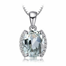 9mm Natural Green Amethyst Oval Pendant Necklace Sterling Silver Special Event