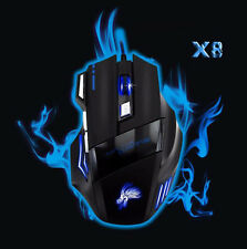 X8 Professional LED Optical Mouse 5500 DPI 7D USB Wired Gaming Mouse Mice UK