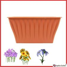 32cm Terracotta Planter Flower Plastic Plant Pot Rectangle Garden Décor G8802