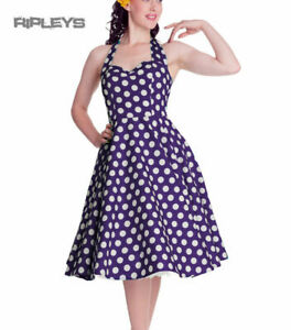 HELL BUNNY Polka Dot 50s Dress MARIAM Pin Up PURPLE Dark XS 8