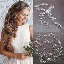 Ladies Bride Wedding Crystal Pearl Hair Band Garland Flower Headband Accessories