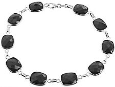 14K White Gold Gemstone Bracelet With Black Onyx 7.25 Inches