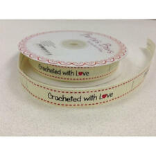With Love Sewing Label 16 Mm Wide 1 or 3 Metres Crocheted With Love - Ivory Full Roll ( 25metres )