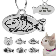 Stainless Steel Personalized Cat Id Tags Cute Cat Head Fish Type Free Engraved