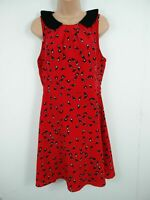 WOMENS DARLING RED AND BLACK BIRD HIGH COLLAR A-LINE DRESS UK LARGE