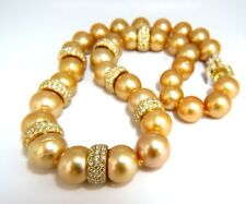 GIA certified Natural Golden Pearls Necklace 18ky Fancy Yellow Diamonds