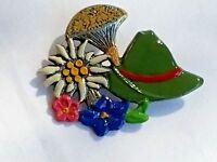 Vintage Kuhn Zinn 93% Pewter Hand Painted Floral Mushroom Hat Brooch RARE