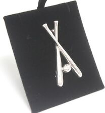 Brooch 925 Unusual Baseball Bats Silver Jewellery 14g Ladies Elegant Gift
