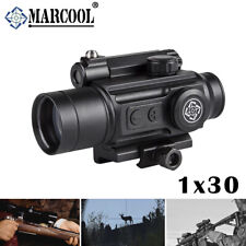 Marcool 1X30 Tactical Hunting Red Dot Sight w/ Laser Rifle Scope 20mm Rail Mount