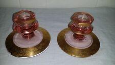 VINTAGE ANTIQUE PINK DEPRESSION GLASS CANDLESTICK HOLDERS ENCRUSTED IN GOLD