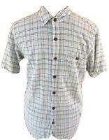 Patagonia Men Medium 100%  Organic Gauze Cotton Button Front Short Sleeved Shirt