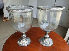 More details for pair,large,glass,candle holders,metal base,tea light,candle stick,candel,holder