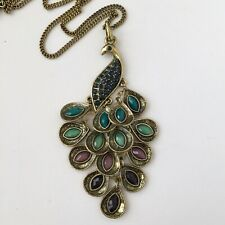 Gold Tone Multi Color Peacock Pendant Necklace