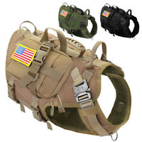 Tactical Military K9 Dog Harness No Pull MOLLE POLICE Hunting Training Vest M/L